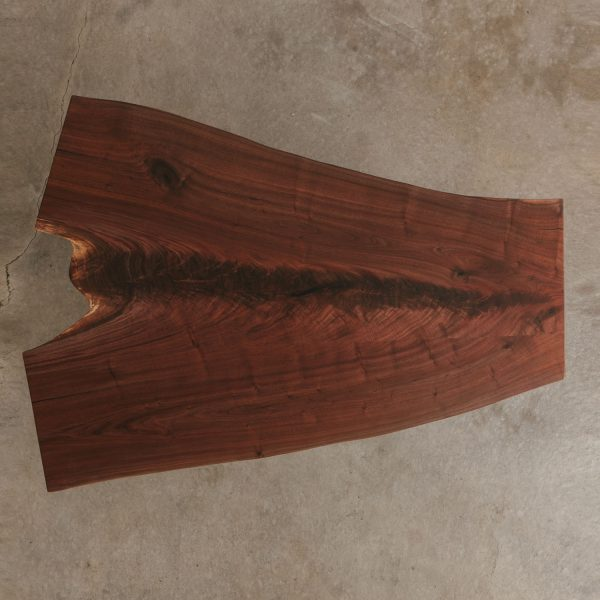 Figured walnut live edge hairpin table with natural tree knot character