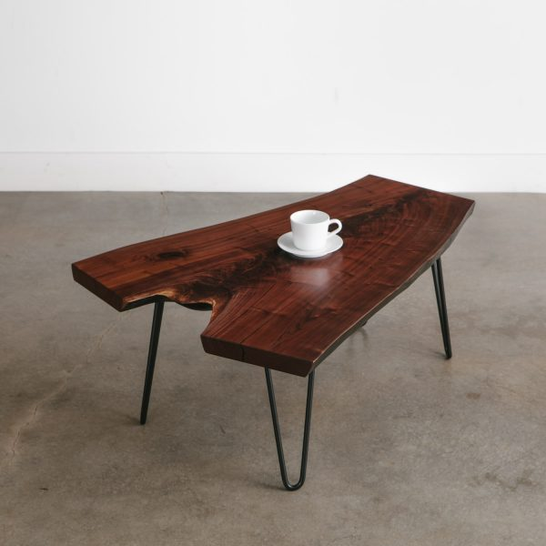 Modern live edge hairpin contemporary coffee table