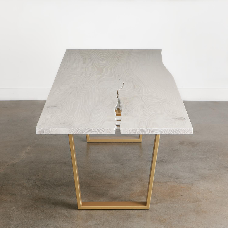 Whitewashed live edge custom dining room table
