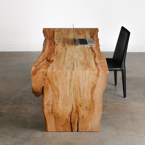 Modern live edge waterfall desk