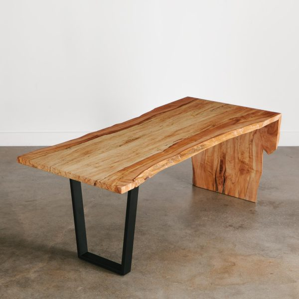 Live edge waterfall maple desk made from tree