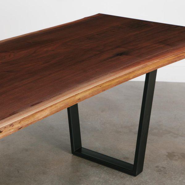 Live edge table with black steel legs