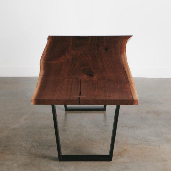 Single slab walnut live edge dining room table
