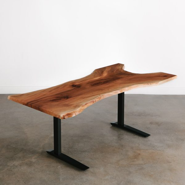 Modern live edge slab made into an adjustable office desk