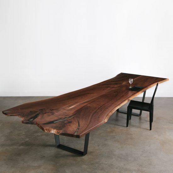 Live edge walnut conference table with resin character