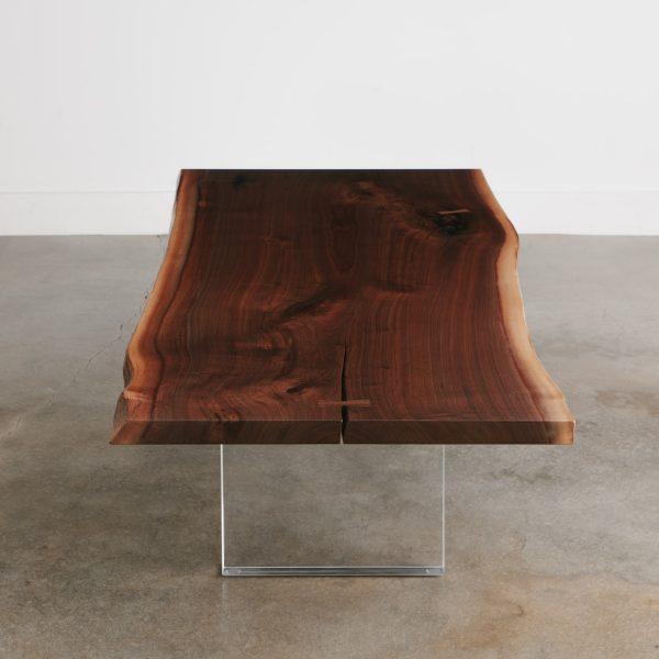 Walnut slab coffee table acrylic clear base