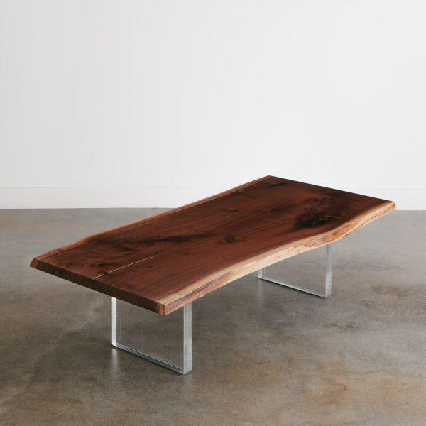 Live edge walnut trendy coffee table