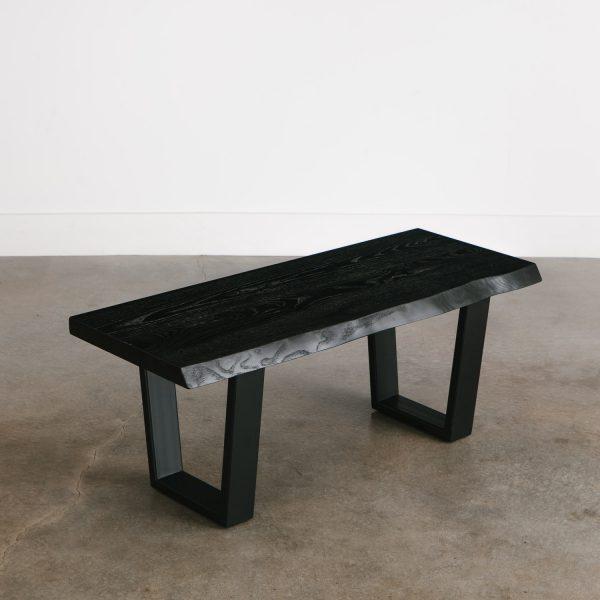 Modern live edge black coffee table