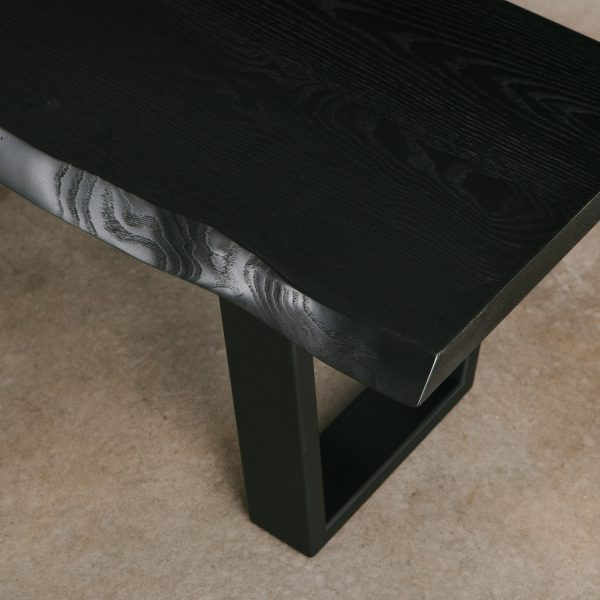 Blackened ash table with black steel base