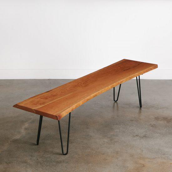 Live edge modern mid century style cherry bench