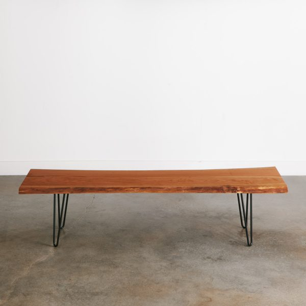 Long live edge bench with black skinny hairpin legs