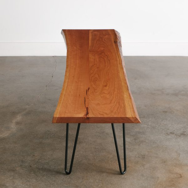 Wood bench with black skinny hairpin legs