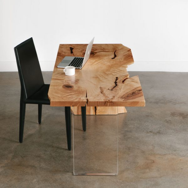 Live edge table with modern clear lucite base