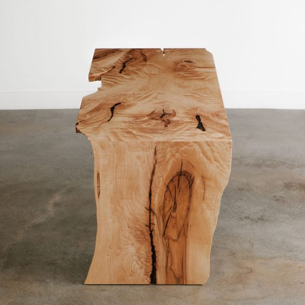 Luxury maple live edge waterfall slab desk