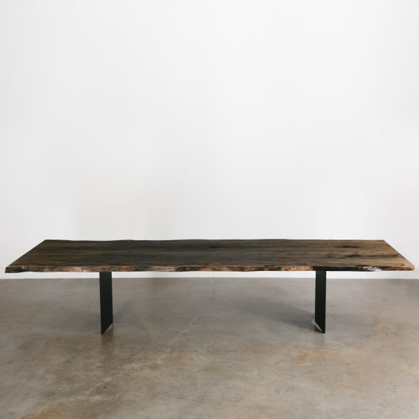 Live edge contemporary long office conference table with black steel base