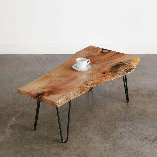 Luxury live edge coffee table with skinny black hairpin legs