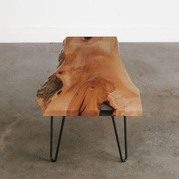 Live edge custom coffee table with hairpin legs