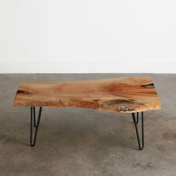 Mid century modern slab coffee table with trendy thin base