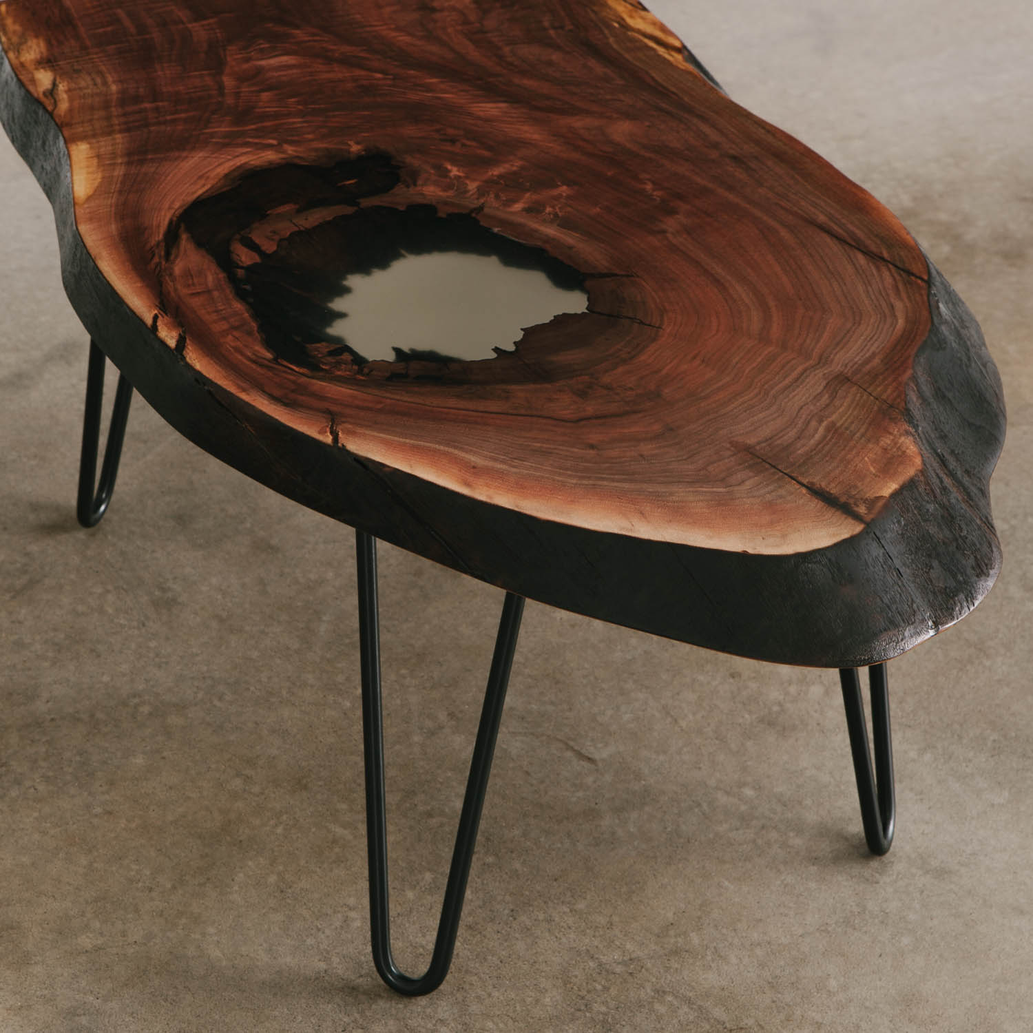 Picture of: Walnut Slab Coffee Table With Clear Resin And Skinny Black Steel Legs For City Apartment Elko Hardwoods Modern Live Edge Furniture Dining Coffee Tables Desks Benches