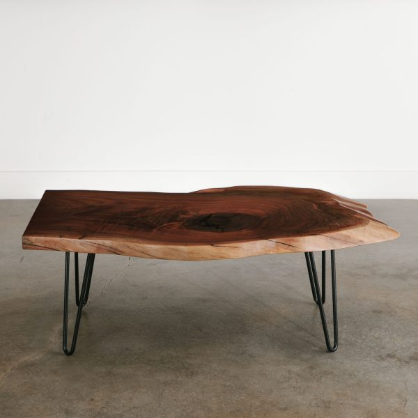 Live edge coffee table with black hairpin legs for city apartment