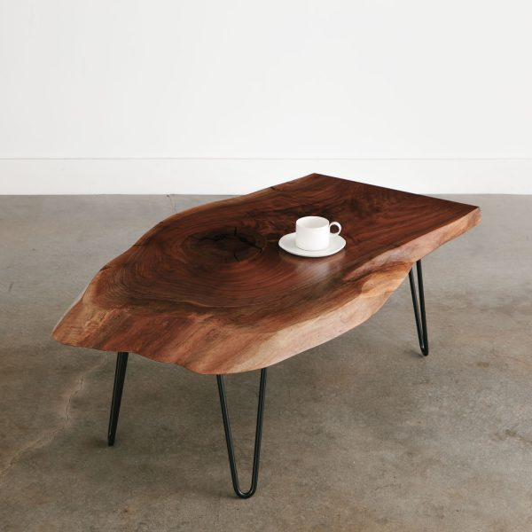 Walnut slab coffee table with black hairpin legs for apartment