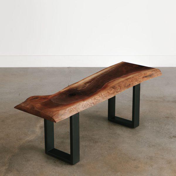 Live edge walnut slab bench with black steel base