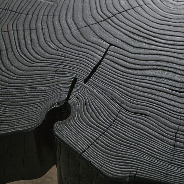 Blackened slab wood grain with matte finish Elko Hardwoods furniture store