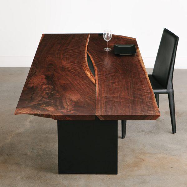 Luxury figured live edge walnut dining room table