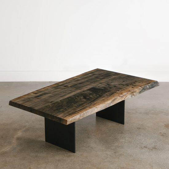 Modern furniture live edge ebonized coffee table with black legs