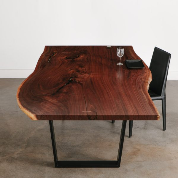 Luxury live edge single slab walnut dining table