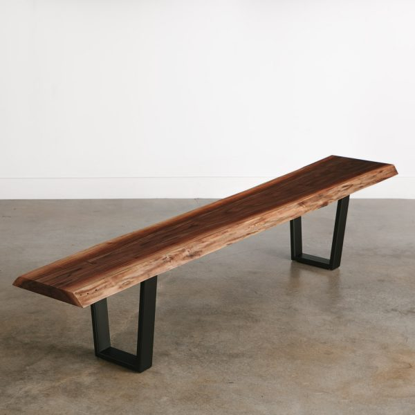 Modern live edge walnut bench long with black steel legs