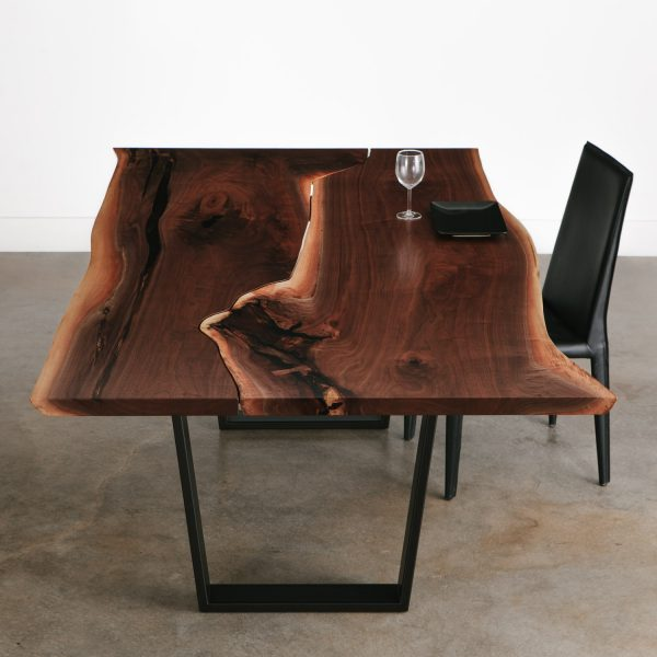 Modern live edge black walnut dining table with beautiful character