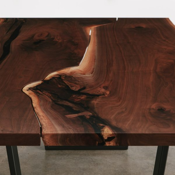 One of a kind walnut dining room table at Elko Hardwoods furniture store Chicago