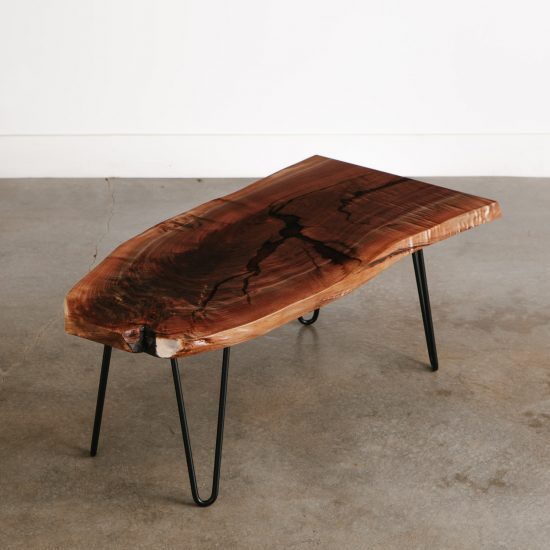 Live edge resin coffee table for city apartment