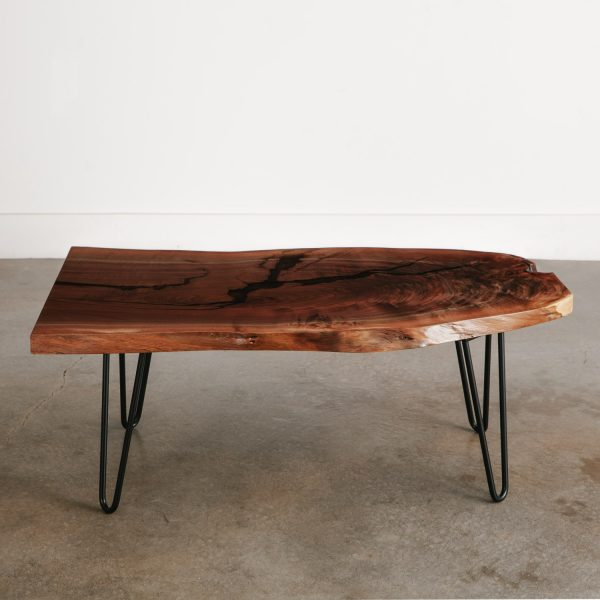 Handmade walnut live edge side table with natural tree characteristics