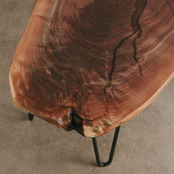 Live edge figured walnut coffee table slab with silky finish