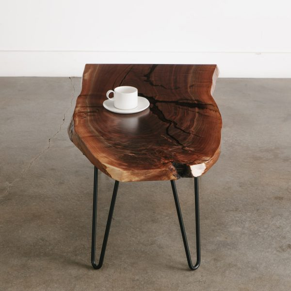 Live edge walnut side table with hairpin legs for office space