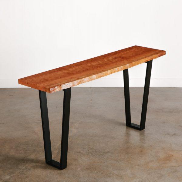 Long thin live edge console table for small space