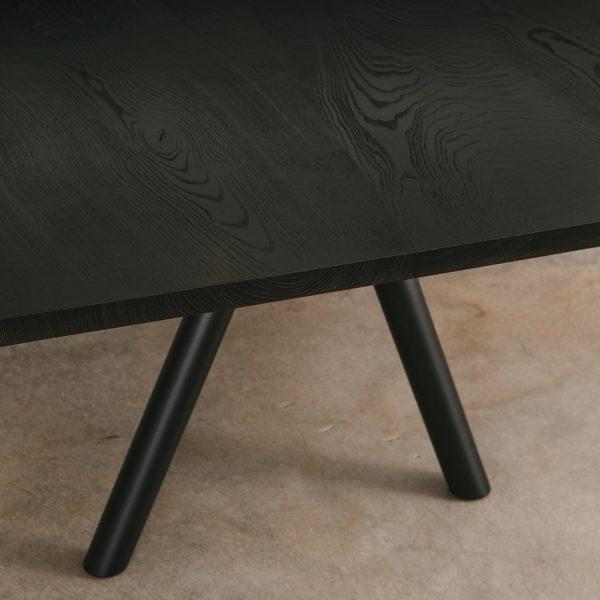 Blackened ash table detail at Elko Hardwoods furniture store Chicago
