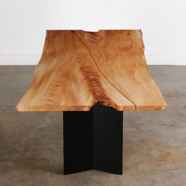 Handmade live edge dining room table with black steel base