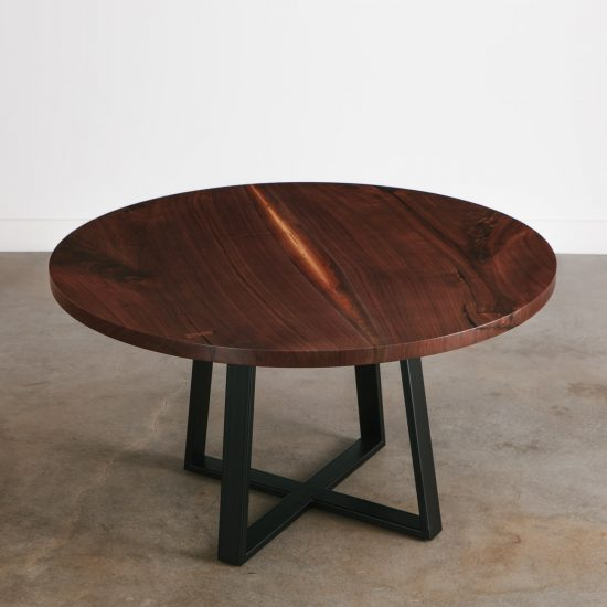 Modern round walnut wood slab restaurant table