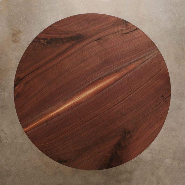 Custom round walnut live edge table at Elko Hardwoods furniture store Chicago
