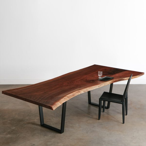 Custom large live edge walnut conference table with black steel legs