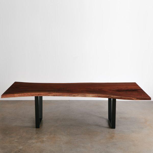 Modern live edge walnut table with black legs