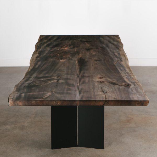 Modern neutral hardwood dining table