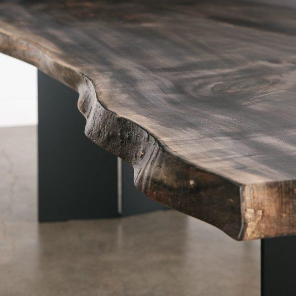 Custom grey color live edge table