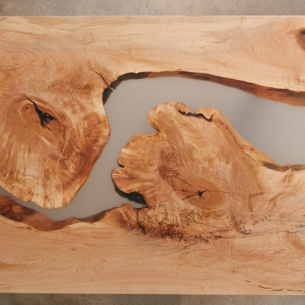 Live edge maple slabs with resin river