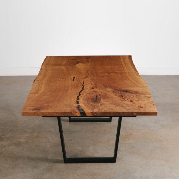 Custom made live edge oak dining table