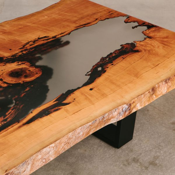 Live edge slab with clear epoxy