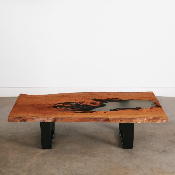 One of a kind live edge coffee table with clear resin